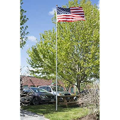 Displays2go Flag Pole Kits, Nylon Flag Included, Telescoping Aluminum Pole with Double Hook – Silver with Gold (TLFLP20): Industrial & Scientific