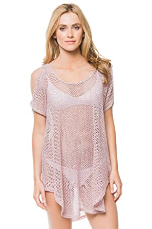 c264091f1e Elif Women's Crochets Sheer Cold Shoulder Tunic Swim Cover Up at Amazon  Women's Clothing store: