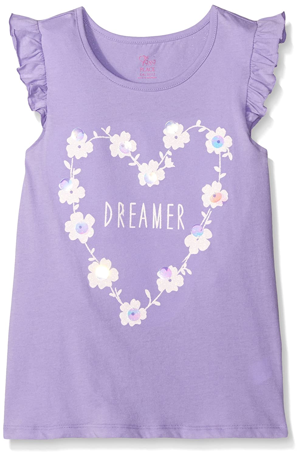 The Childrens Place Girls Flutter Sleeve Top