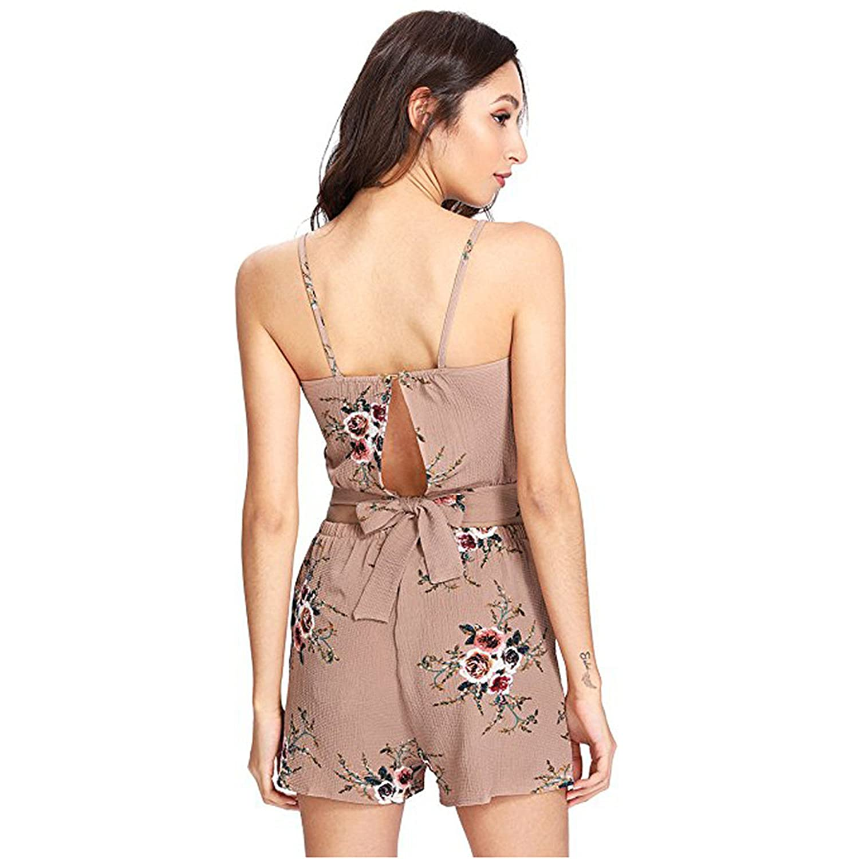 ????2018 SFE,Women Jumpsuit,Womens Summer 2 Pieces Halter Top Shorts Set Floral Print Short Outfits Rompers Jumpsuits