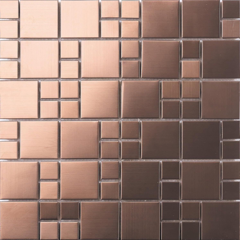 30 cm x 30 cm Carrelage mosaïque en acier inoxydable brossé en cuivre. Taille des pierres est variert petits et grands (MT0174) GTDE