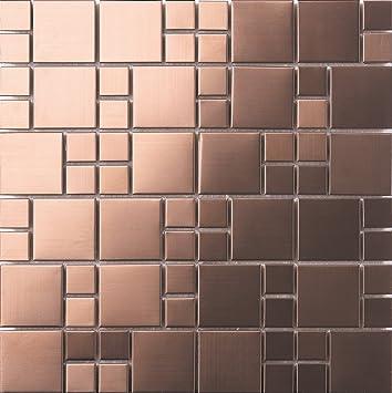 30cm X 30cm Matte Gebürstet Edelstahl Mosaik Wand Fliesen Blatt Kupfer Optik  (MT0174)