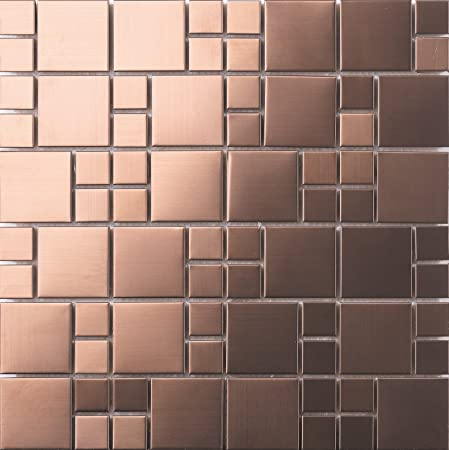 1 m² Brushed Stainless Steel Mosaic Wall Tiles Sheets Matte