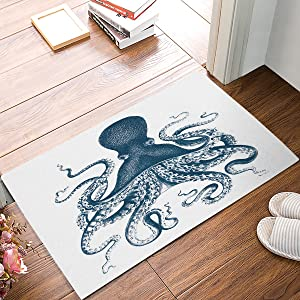 Octopus Steampunk Doormats Entrance Front Door Rug Outdoors/Indoor/Bathroom/Kitchen/Bedroom/Entryway Floor Mats,Non-Slip Rubber,Low-Profile 18