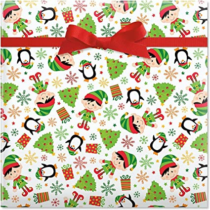 Amazon Com Elves Christmas Rolled Gift Wrap 1 Giant Roll 23 Inches Wide By 35 Feet Long Heavyweight Tear Resistant Holiday Wrapping Paper Health Personal Care