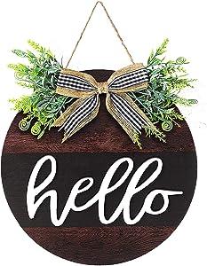 Hello Sign Rustic Front Door Round Wooden Hanging Wooden Door Wreath Hanger Farmhouse Porch Door Sign with Burlap Bow for Home Door Decoration (Brown and Black)