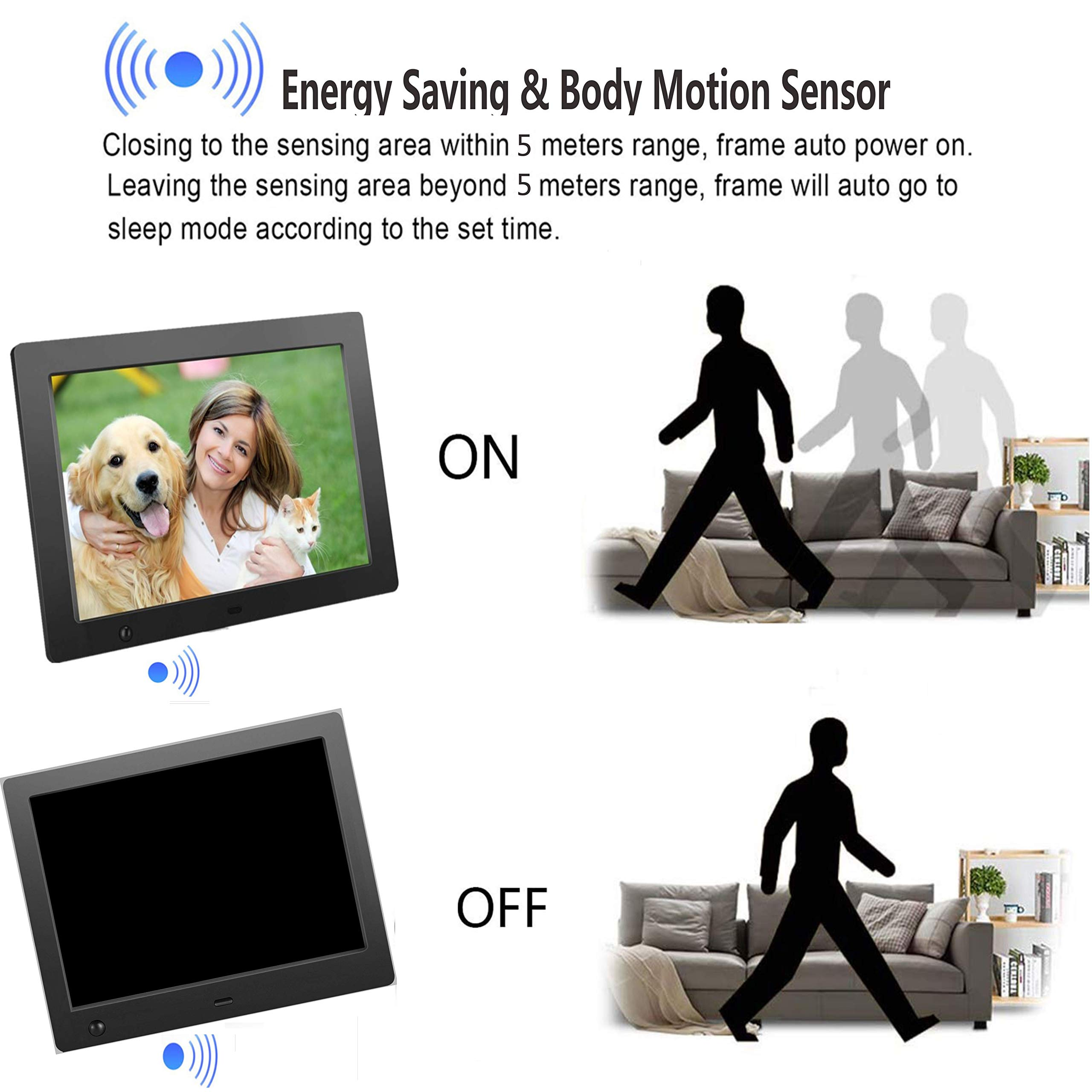 Digital Picture Frame 8 inch, Digital Photo Frame Video Player with Motion Sensor Smart Electronics Picture Frame High Resolution 1024x768 IPS LCD/1080P 720P /Stereo/MP3/Calendar/Time/Remote Control by Quality Life (Image #4)