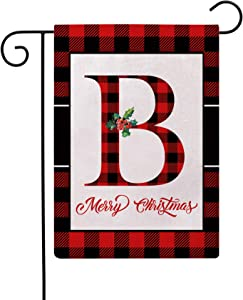 Christmas Plaid Decorative Garden Flags with Monogram Letter B Double Sided Farmhouse Red/Black Buffalo Plaid Winter Holiday Outdoor Garden Flags 12.5×18 Inch for House Garden Yard Patio Decor (B)