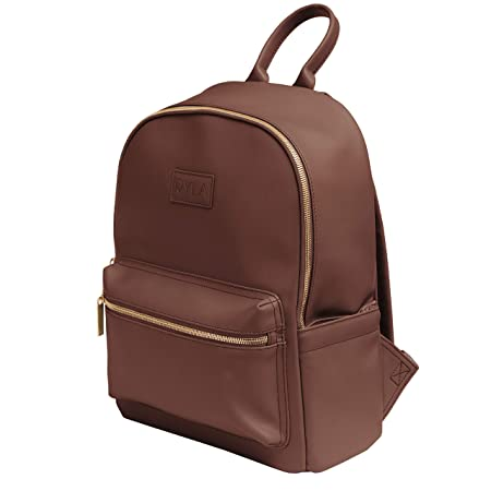 Ryla | Ready Diaper Bag Backpack | Vegan Leather, Changing Pad, Wet Bag, Multi Function (Brown) by Ryla