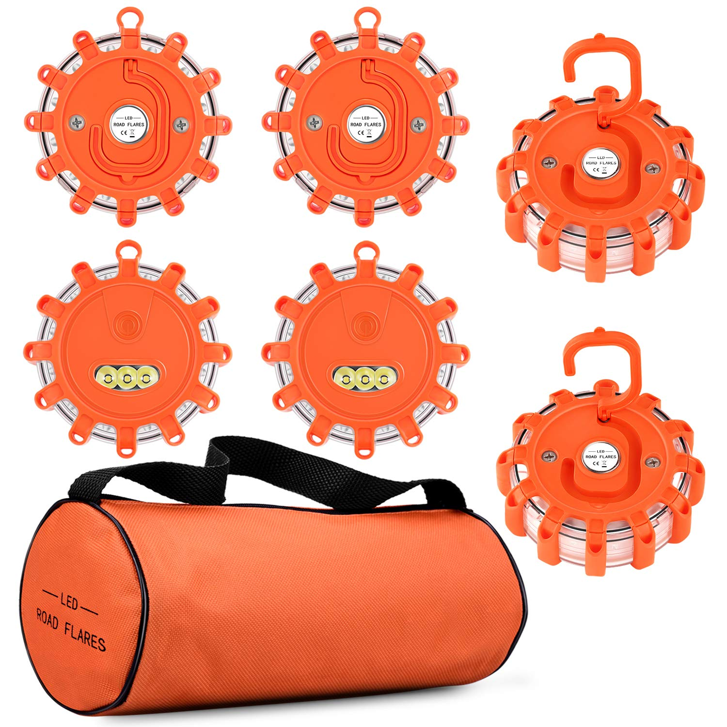 Vancle LED Road Flares 6 PACK Emergency Disc with Magnetic Base and Hook Roadside Safety Flashing Warning Strobe Light for Car Truck Boat, Orange Red