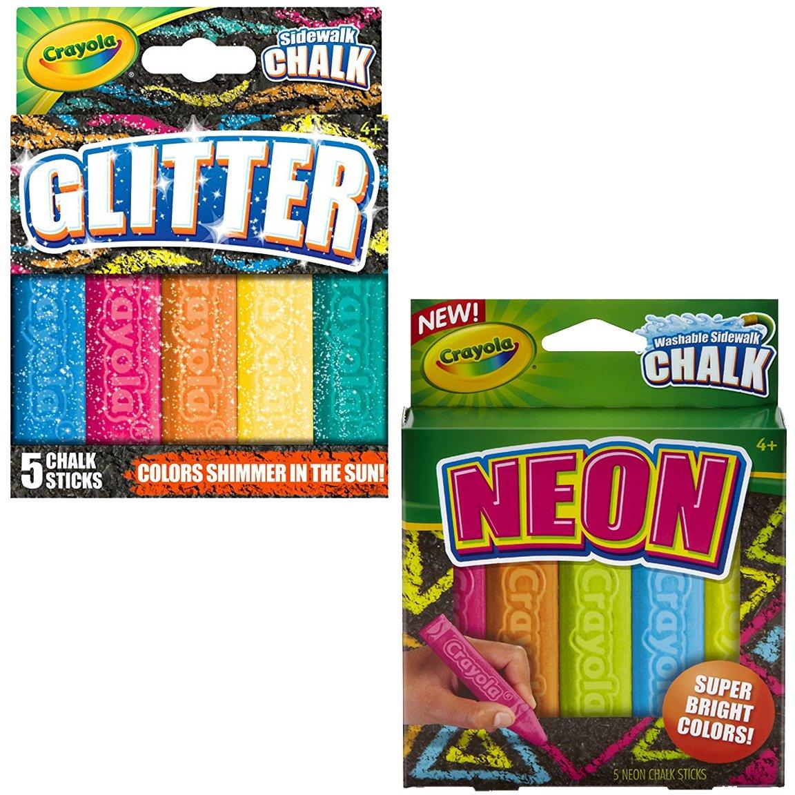 Crayola Outdoor Chalk Glitter & Neon 5 Count (2-Pack)