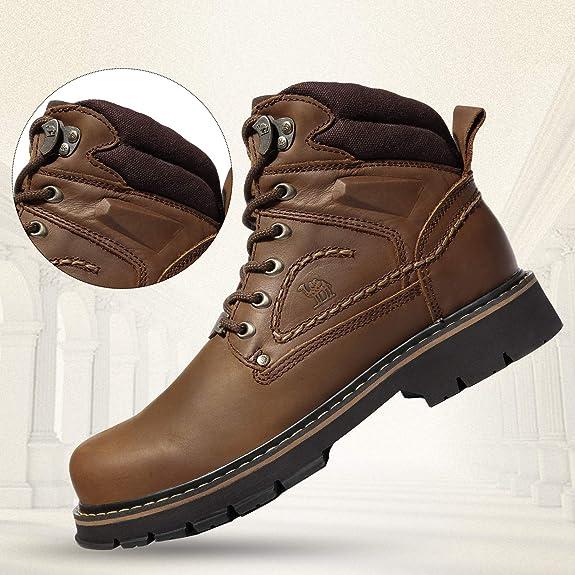 CAMEL CROWN Kurzschaft Stiefel Stiefeletten Herren Klassische Leder Winterstiefel Freizeitschuhe Walkingschuhe Rutschfeste Schnürschuhe Schuhe
