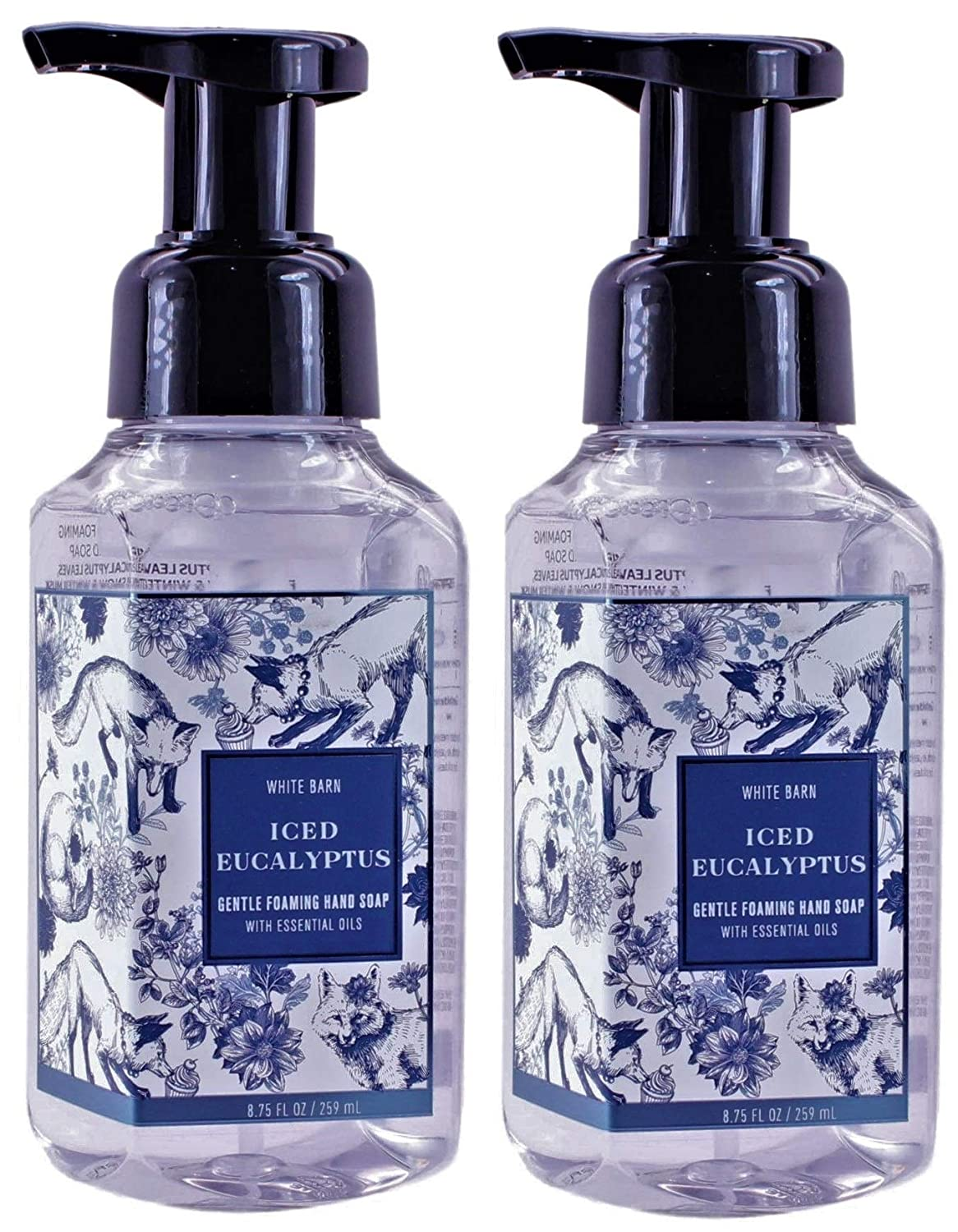 White Barn Bath and Body Works Iced Eucalyptus 8.75 ounce (2 Pack) Gentle Foaming Hand Soap