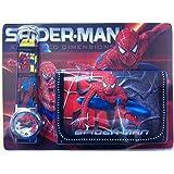 Ensemble montre et portefeuille Spiderman pour enfant (style peut varier)