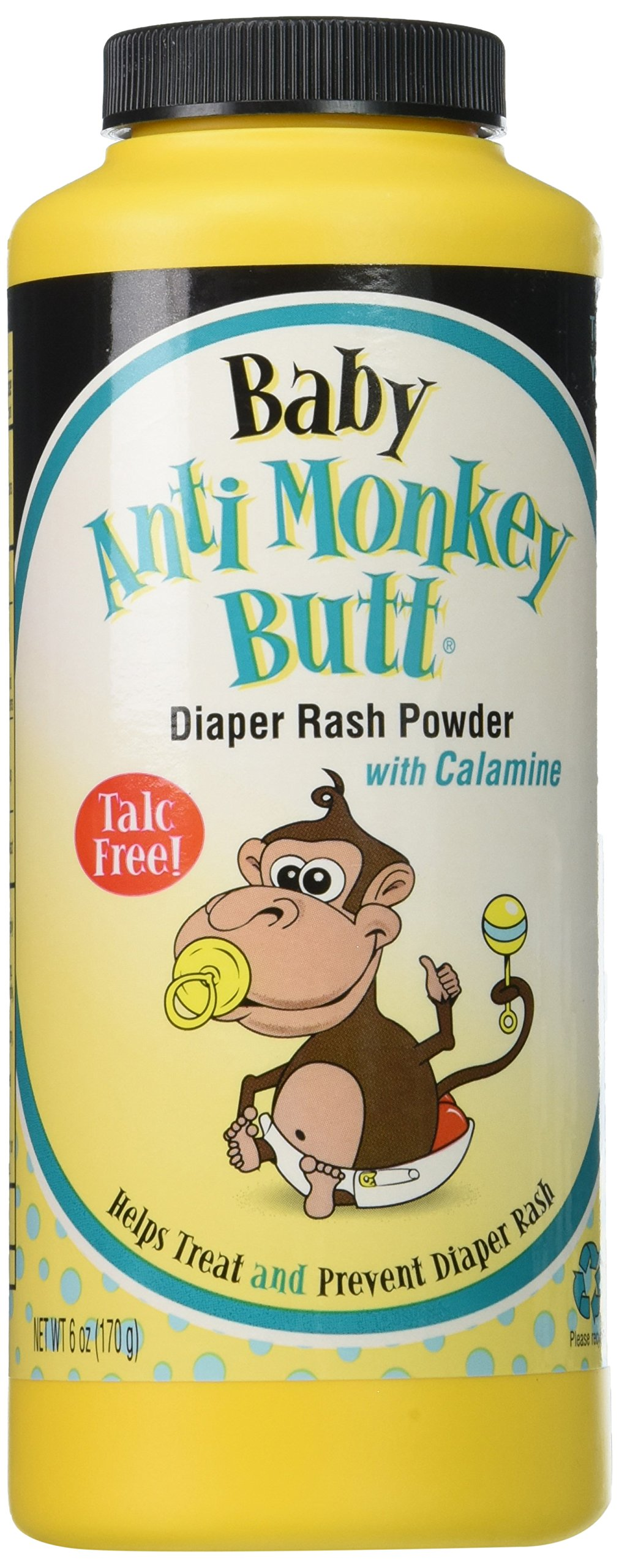 Baby Anti-Monkey Butt Diaper Rash Powder, 6oz. Bottle - 3 Pack by Anti Monkey Butt