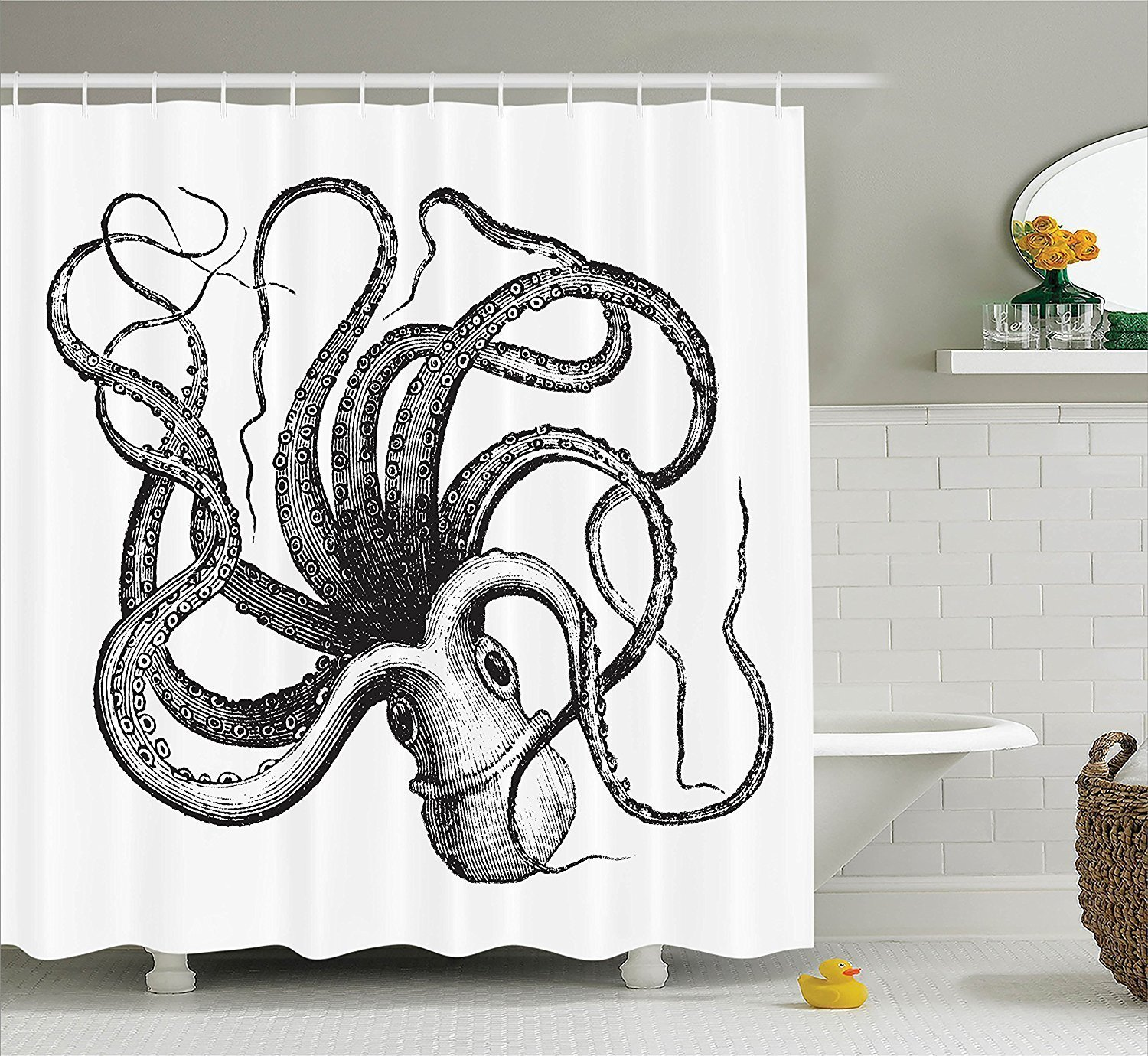 SUN-Shine Custom Sealife Sea Monster Octopus Kraken with Tentacles Nautical Decor Collection Fabric Shower Curtain with Hooks 3
