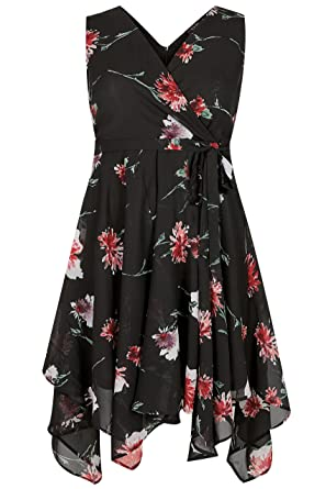 Yours Clothing Womens Plus Size Floral Print Wrap Dress With Hanky
