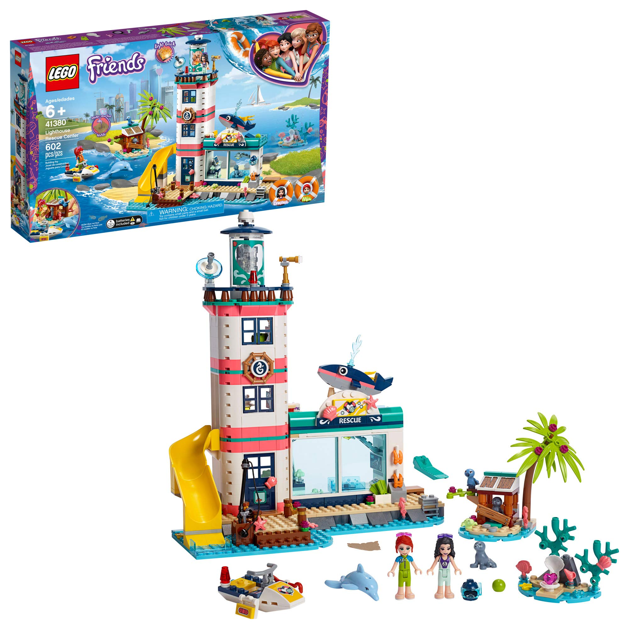 LEGO Friends Lighthouse Rescue Center 41380 Building Kit with Lighthouse Model and Tropical Island Includes Mini Dolls and Toy Animals for Pretend Play (602 Pieces) by LEGO