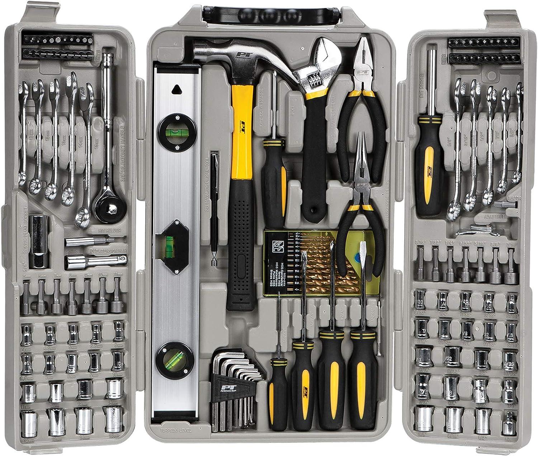 "Performance Tool W1802 SAE/Metric 157 Piece Homeowner's Tool Set (1/4"" & 3/8"" Drive)"