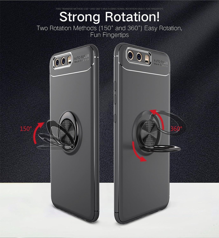 Schwarz Homikon H/ülle TPU Silikon H/ülle Mit Magnetischer 360 /°Verdrehbare Ring Weiche Handyh/ülle Ultra d/ünne Legierung Schutzh/ülle Case Tasche Kompatibel mit Huawei P9