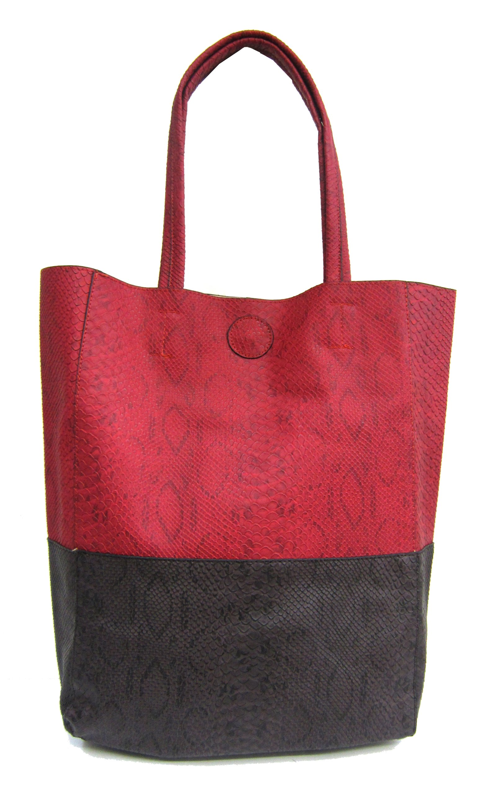 Snakeskin Tote Plus Cross-body EveryGirl Shoulder Bag Set (Red) by Moda Angelo