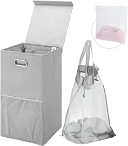 Greenstell Single Laundry Hamper with Lid and Oval Handles for Easy Movement, Foldable Grid Laundry Hamper Basket with Mesh Pockets Used in Bedrooms, Laundry Room and Balconies(Gray)