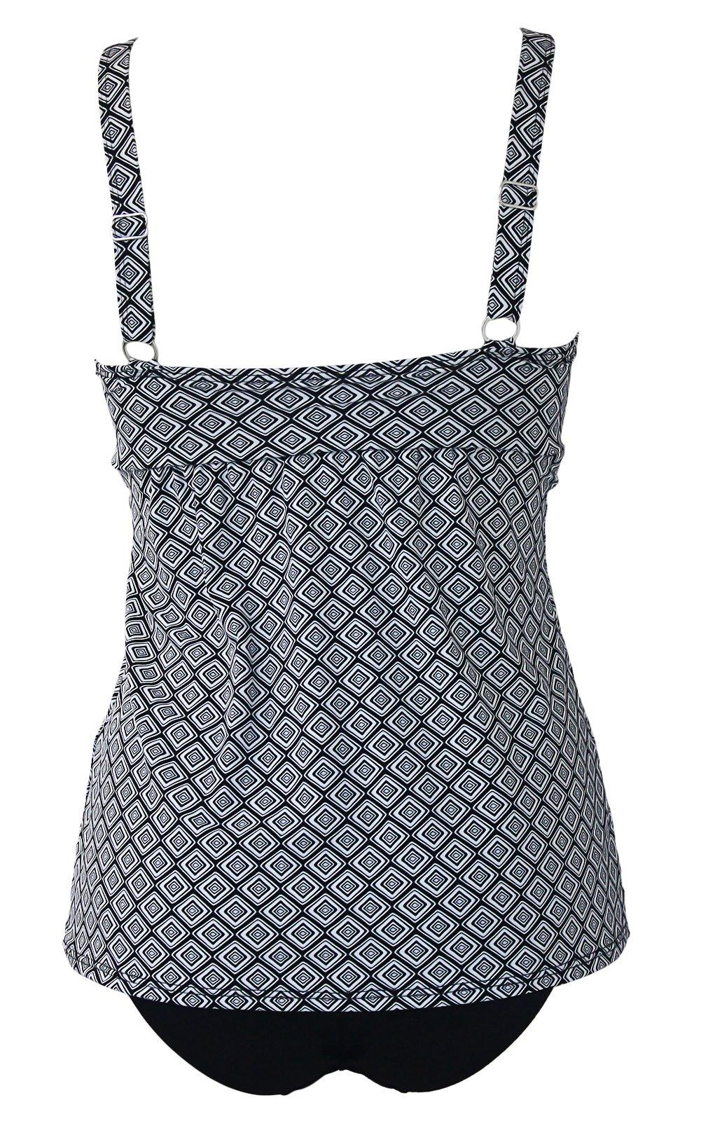 Agreya Women Two Pieces Swimwear Tankini Top with Triangle Bikini Simsuits (White, M)