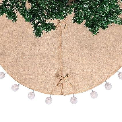aerwo 48 inch natural burlap christmas tree skirts white 3d pompom tree skirt for xmas - Burlap Christmas Tree Skirt