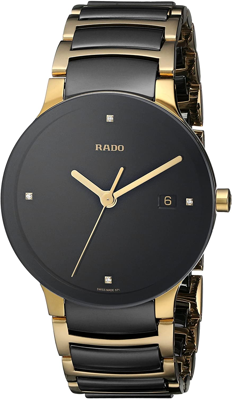 Amazon.com: Rado Men's R30929712 Centrix Jubile Gold Plated Stainless Steel  Bracelet Watch: Rado: Watches