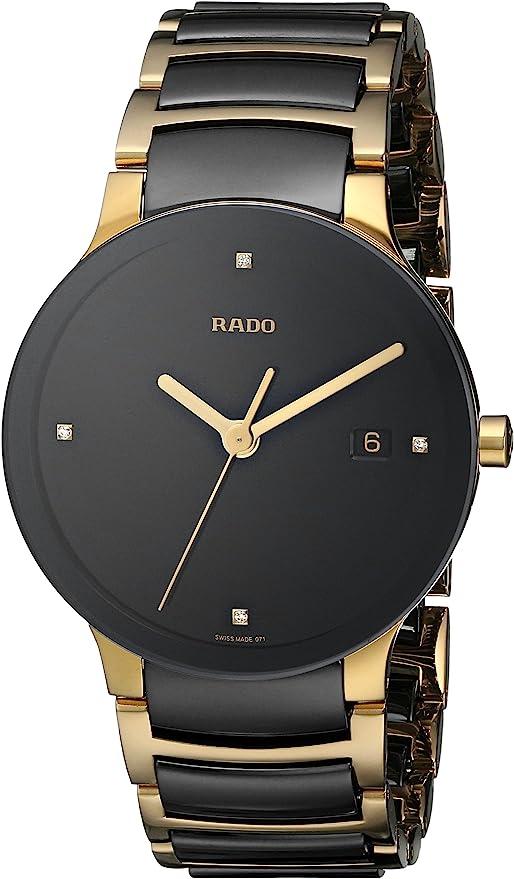 Amazon Com Rado Men S R30929712 Centrix Jubile Gold Plated Stainless Steel Bracelet Watch Rado Watches