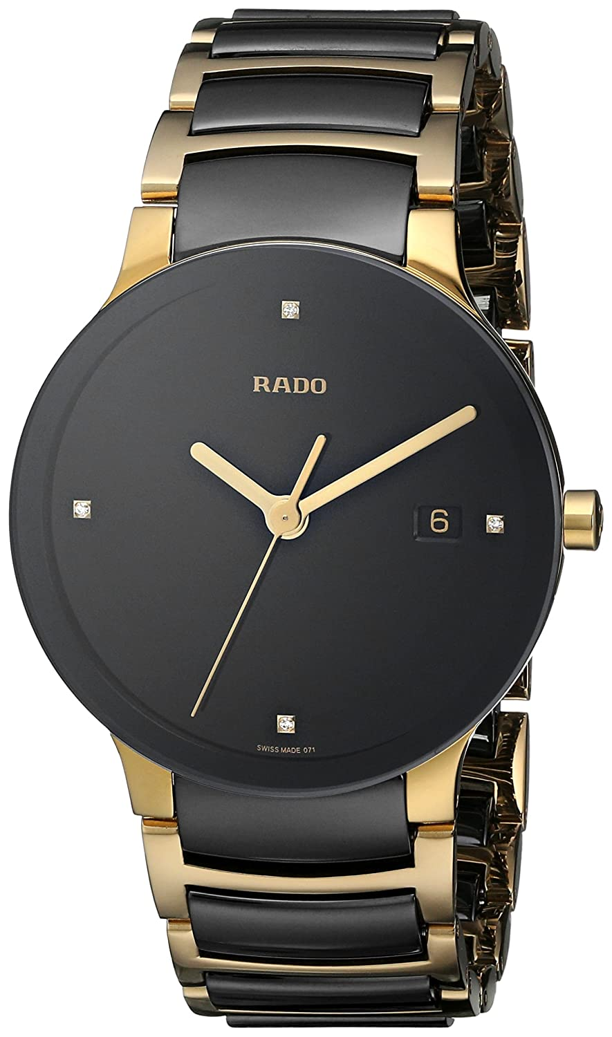 Rado Men S R30929712 Centrix Jubile Gold Plated Stainless Steel Bracelet Watch