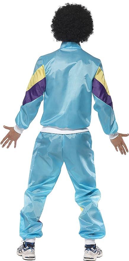 Smiffys Smiffys-39298M Disfraz de chándal años 80, con Chaqueta y pantalón, Color Azul, M - Tamaño 38