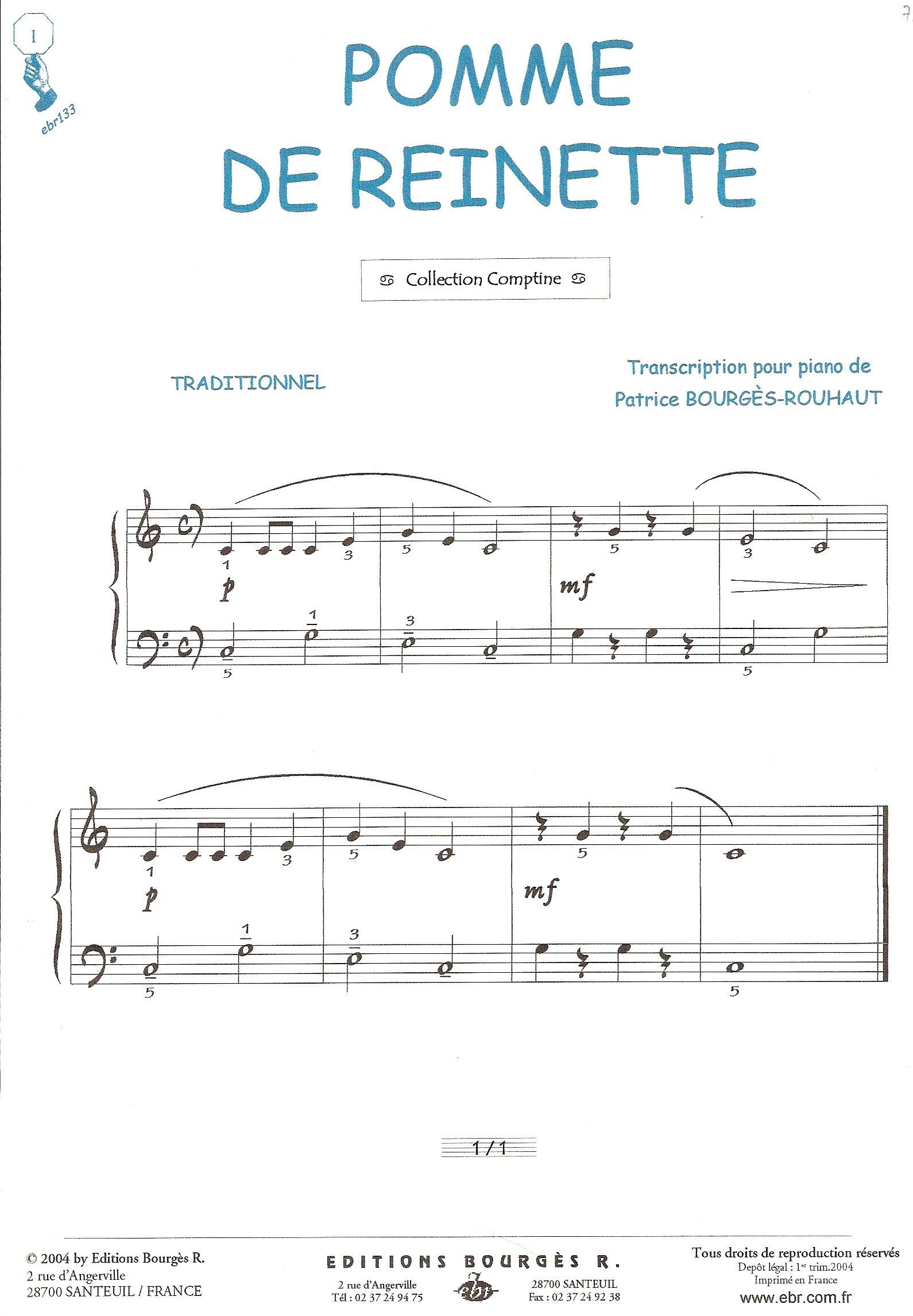 Amazon Fr Partition Pomme De Reinette Piano Et Paroles
