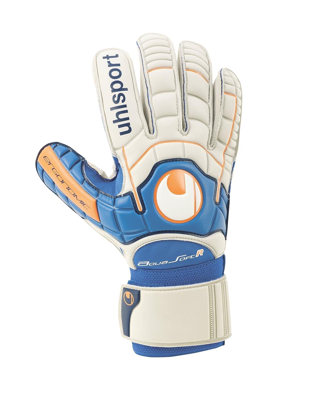 Uhlsport Aquasoft Gants de gardien doigts stri/és Unisexe Gris//blanc cass/é//Orange fluo