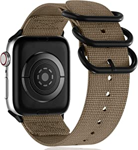 Muranne Compatible with Apple Watch Band 42mm 44mm, Classy Washable Woven Nylon Strap with Military-Style Loop Adapters for iWatch SE Series 6 5 4 3 2 1 for Women Ladies Girls, Desert Tan, Medium