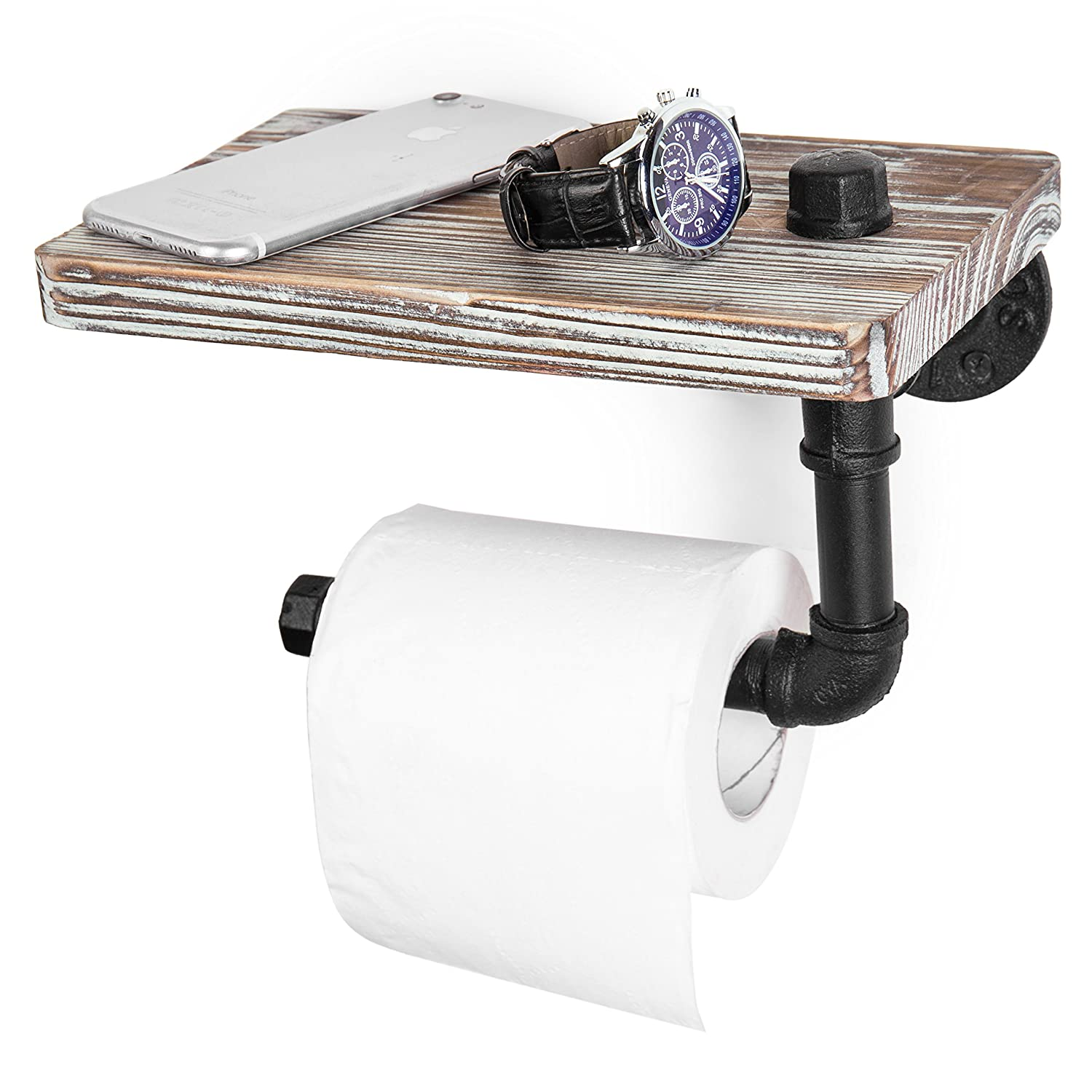MyGift Industrial-Style Wall-Mounted Pipe Toilet Paper Holder with Shelf