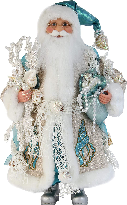"Windy Hill Collection 16"" Inch Standing Aquamarine Santa Claus Christmas Figurine Figure Decoration 168240"