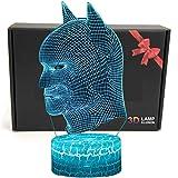 LED Superhero 3D Optical Illusion Smart 7 Colors Night Light Table Lamp with USB Power Cable (Batman)