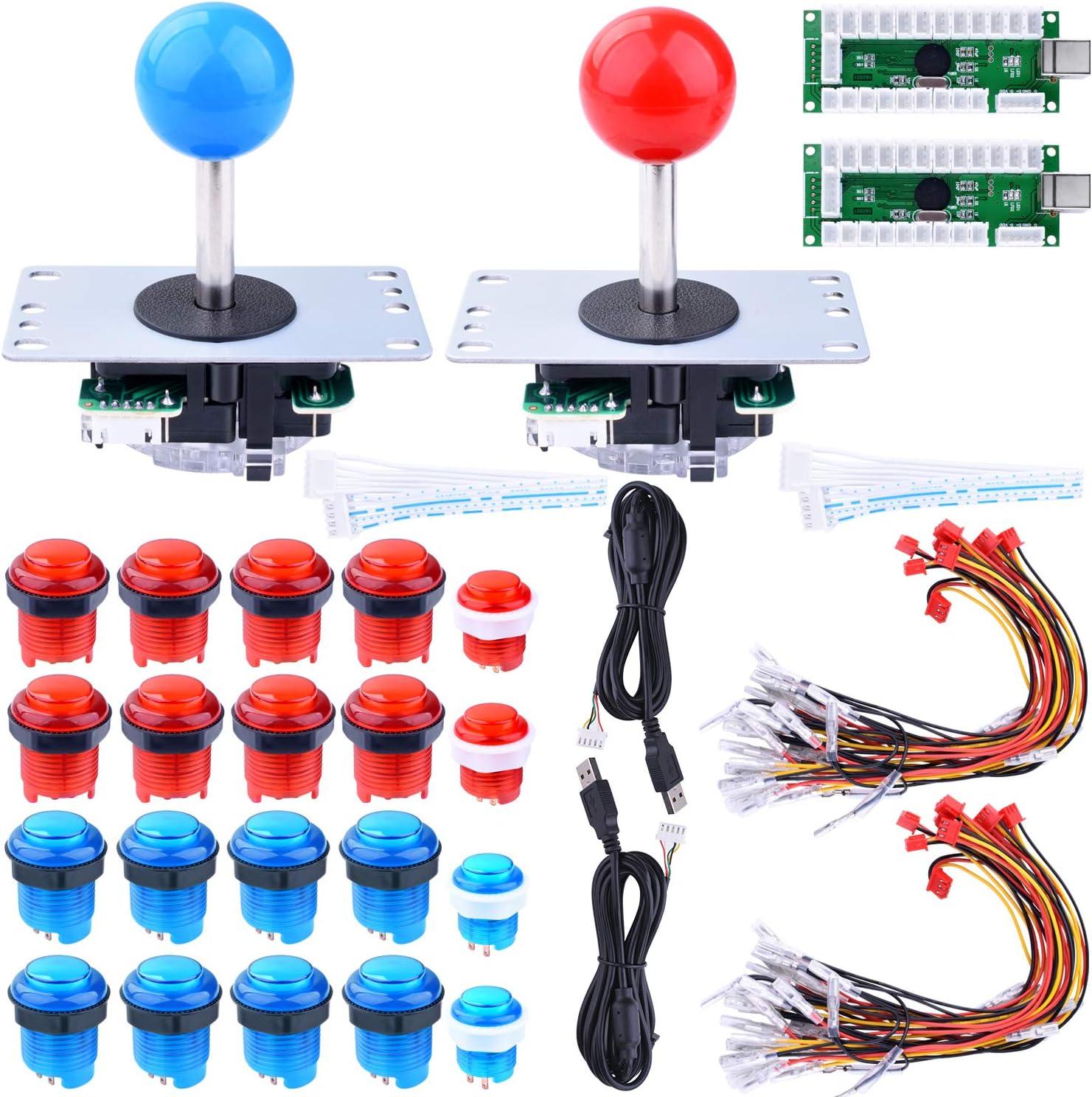 Joystick Arcade Raspberry Pi 3 2 model B, Joystick Mandos Arcade kit de Bricolaje Codificador USB 2x Zero Delay + 2x 8 Way Joystick