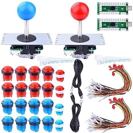 for Raspberry Pi 3 2 Model B Retropie, Longruner LED Arcade DIY Parts 2X  Zero Delay USB Encoder + 2X 8 Way Joystick + 20x LED Illuminated Push  Buttons