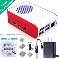 Smraza Raspberry Pi 4 Case, Acrylic Case with Cooling Blink Fan, 4PCS Heatsinks, 5V 3A Type-C Power Supply, Built in Fan with LED, Compatible with Raspberry Pi 4 Model B - White and Red