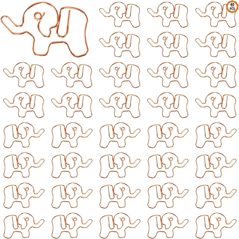 Yangfei 40 Pezzi Grafette per Ufficio Graffette Animali Segnalibri Graffette Decorative Grafette di Elefante Carino Grafette in Metallo per Insegnanti Studenti Bambini Dorato, 3.8 * 2.5 cm