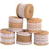 Satinior 6 Pieces Natural Burlap Craft Ribbon Roll with White Lace for DIY Handmade Wedding Crafts Lace Linen, 78.7 Inch