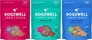 DOGSWELL Grain Free Jerky Minis Variety Pack in 3 Flavors: Hip & Joint Chicken, Immunity & Defense Duck, and Skin & Coat Salmon (4 Ounces Each, 3 Bags Total)