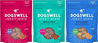 product image for DOGSWELL Grain Free Jerky Minis Variety Pack in 3 Flavors: Hip & Joint Chicken, Immunity & Defense Duck, and Skin & Coat Salmon (4 Ounces Each, 3 Bags Total)