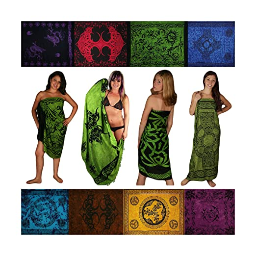 ecf17613e7b Sarongs, Assorted. Celtic/Tribal, Green Shades. Free Gift! at Amazon ...
