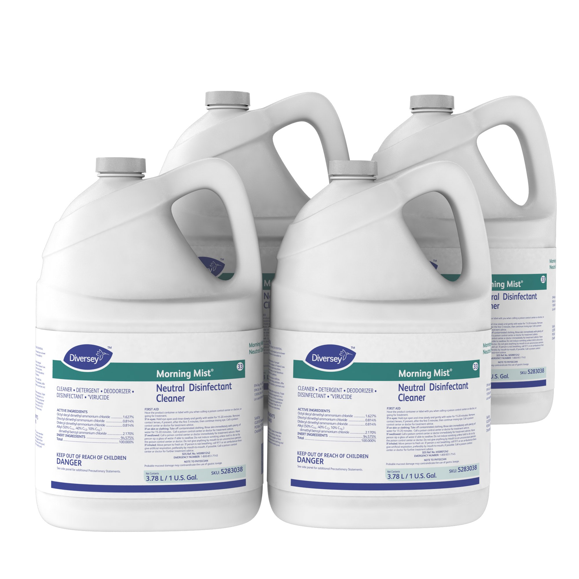 Diversey Morning Mist Fast Neutral Disinfectant Cleaner - Fresh Scent - 1 Gallon Concentrate, 4 Pack (Packaging May Vary)