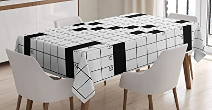 Word Search Puzzle Tablecloth By Ambesonne, Blank Newspaper Style Crossword  Puzzle With Numbers In Word