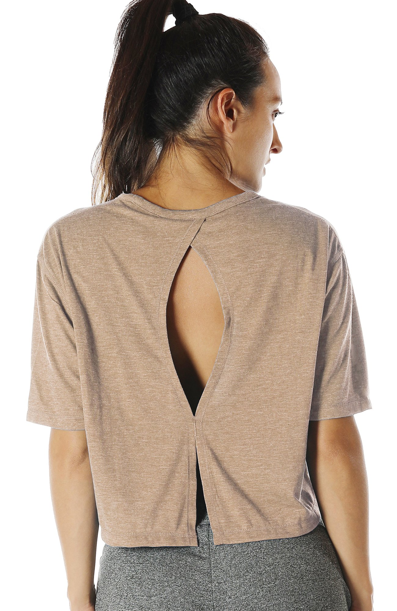 icyzone Open Back Workout Top Shirts - Yoga t-Shirts Activewear Exercise Crop Tops for Women (M, Beige)
