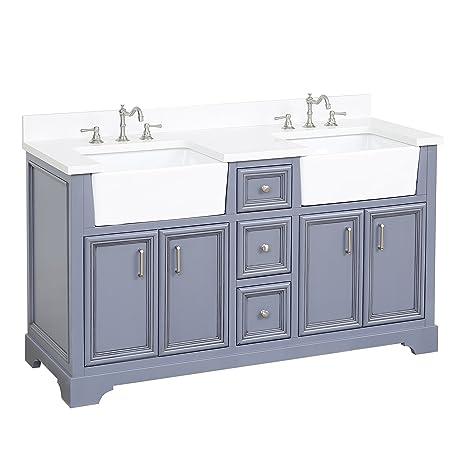 Zelda 60-inch Double Bathroom Vanity (Quartz/Powder Gray): Includes a  Quartz Countertop, Powder Gray Cabinet with Soft Close Doors & Drawers, and  ...